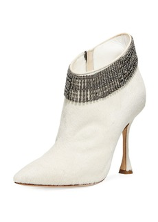 Manolo Blahnik Bomabi Calf Hair and Crystal Bootie