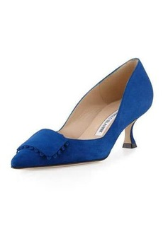 Manolo Blahnik Bottopla Square-Detail Suede Pump
