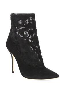 Manolo Blahnik Bricamina 105 Suede & Lace Booties