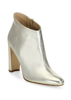 Manolo Blahnik Brusta 105 Metallic Leather Block Heel Booties