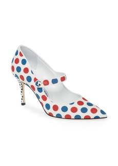 Manolo Blahnik Campari Dots Pointed Toe Mary Jane Pump (Women)