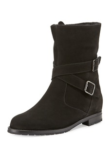 Manolo Blahnik Campocross Belted Mid-Calf Boot with Shearling