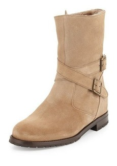 Manolo Blahnik Campocross Shearling-Lined Crisscross Buckle Boot