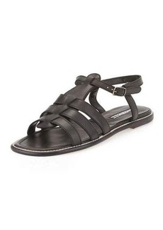Manolo Blahnik Canale Leather Caged Flat Sandal