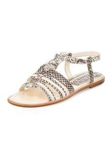 Manolo Blahnik Canale Snakeskin Caged Flat Sandal
