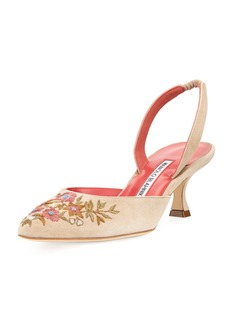 Manolo Blahnik Carolyne Embroidered Suede 50mm Pump