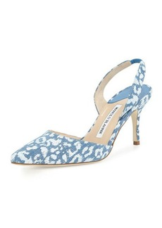 Manolo Blahnik Carolyne High-Heel Denim Halter Pump