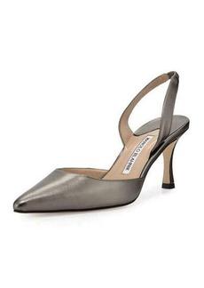 Manolo Blahnik Carolyne Leather Mid-Heel Halter Pump