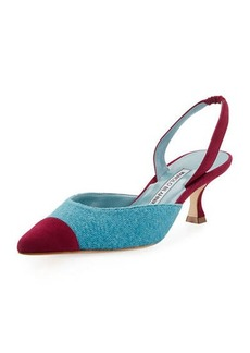 Manolo Blahnik Carolyne Tweed Low-Heel Halter Pump