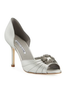 Manolo Blahnik Cassiado Ornamented Satin Open-Toe Pumps