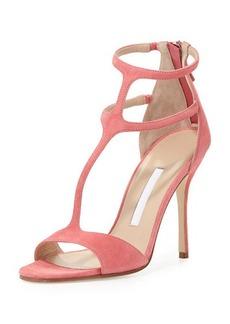 Manolo Blahnik Cellin Suede T-Strap High-Heel Sandal