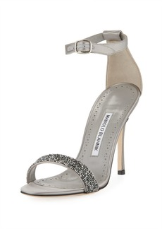 Manolo Blahnik Chaos Beaded Ankle-Wrap Sandal