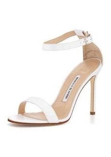 Manolo Blahnik Chaos Leather Ankle-Strap Sandal