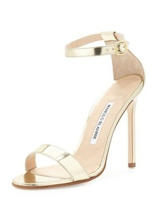 Manolo Blahnik Chaos Metallic Stiletto Sandal