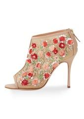 Manolo Blahnik Clizia Mesh Floral Peep-Toe Booties