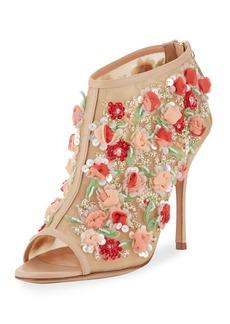 Manolo Blahnik Clizia Mesh Floral Peep-Toe Bootie