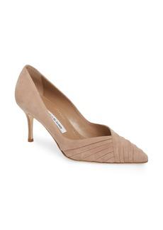 Manolo Blahnik Croda Pleated Pointy Toe Pump (Women)