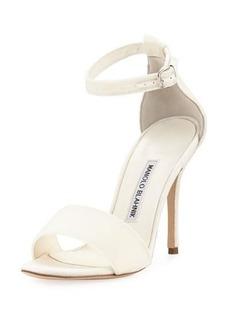Manolo Blahnik Tres Velvet Ankle-Wrap Sandal