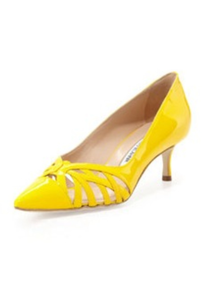 Manolo Blahnik Cutout Vamp Pump, Yellow