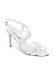 Manolo Blahnik Demure Perforated Strappy Sandal (Women)