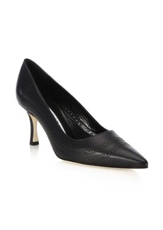 Manolo Blahnik Denna 70 Leather Point Toe Pumps