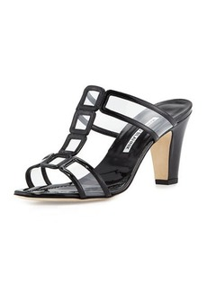 Manolo Blahnik Dico Patent & PVC Sandal