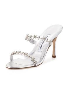 Manolo Blahnik Diora Floral-Crystal Slide Sandal
