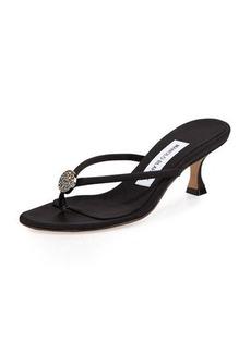 Manolo Blahnik Dole Embellished Thong Sandal