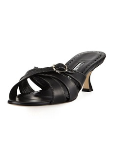 Manolo Blahnik Ducato Strappy Leather Slide Sandal