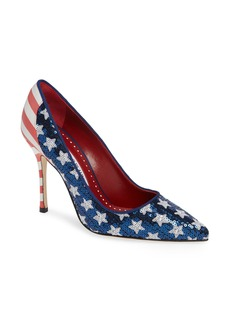 Manolo Blahnik Duke Americana Sequined Pump (Women)