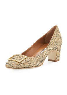 Manolo Blahnik Duran Snake-Brocade 50mm Pump