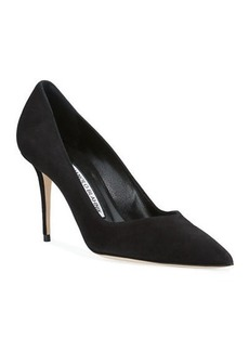 Manolo Blahnik Eris V-Neck Suede Pumps