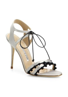 Manolo Blahnik Esparra Pom-Pom Front-Tie Sandals