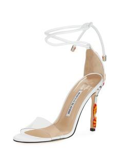 73cc182643f Manolo Blahnik Estro Fabric   PVC Ankle-Wrap Sandal