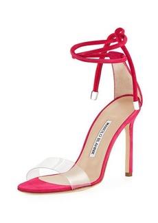 Manolo Blahnik Estro Leather & PVC Ankle-Wrap Sandal