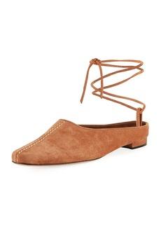 Manolo Blahnik Etnica Suede Mule with Ankle Tie