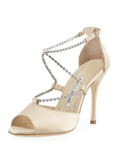 Manolo Blahnik Etona Leather and Satin Sandal with Crystal Straps