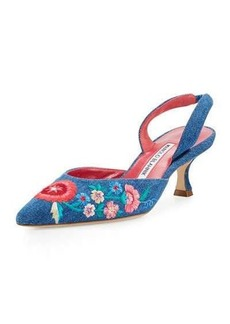 Manolo Blahnik Fauna Floral Denim 50mm Pump