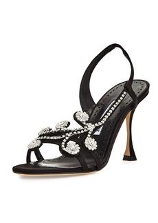Manolo Blahnik Fernusan Embellished Satin Sandal
