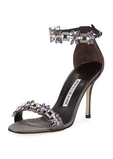 Manolo Blahnik Firadou Crystal-Embellished Satin Sandal
