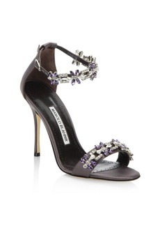 Manolo Blahnik Firaduo 105 Crystal-Embellished Satin Ankle-Strap Sandals