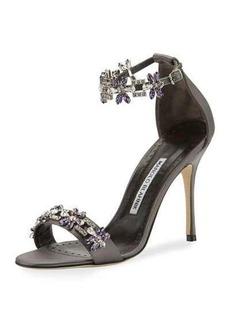 Manolo Blahnik Firaduo Embellished Satin Sandal