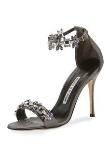 Manolo Blahnik Firaduo Embellished Satin Sandals