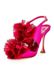 Manolo Blahnik Flore Satin Flower Sandal