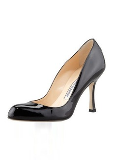 Manolo Blahnik Foka Almond-Toe Leather Pump