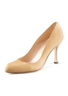 Manolo Blahnik Fokapump Round-Toe Leather Pump