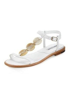 Manolo Blahnik Fonga Circle Leather Flat Thong Sandal
