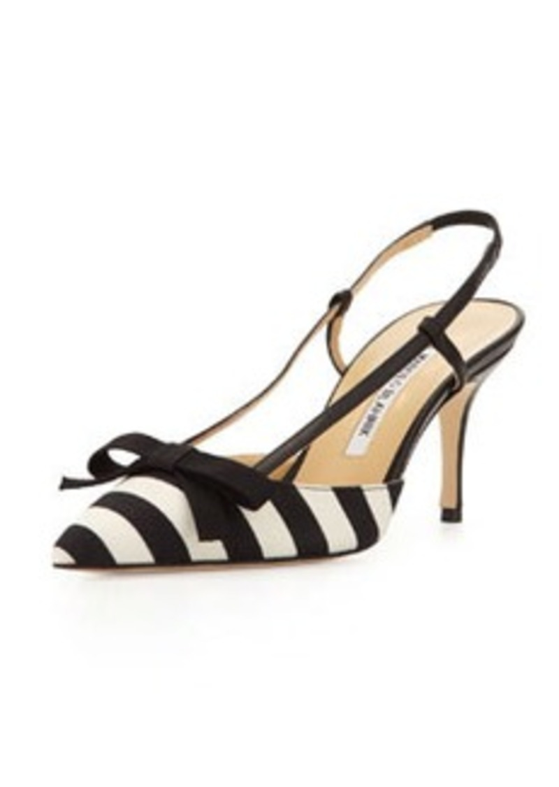 Manolo Blahnik Galop Striped Canvas Halter Pump, Black/White