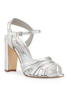 Manolo Blahnik Gazo Metallic Leather 105mm Sandals