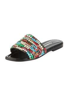 Manolo Blahnik Gioiosa Embellished Flat Slide Sandals